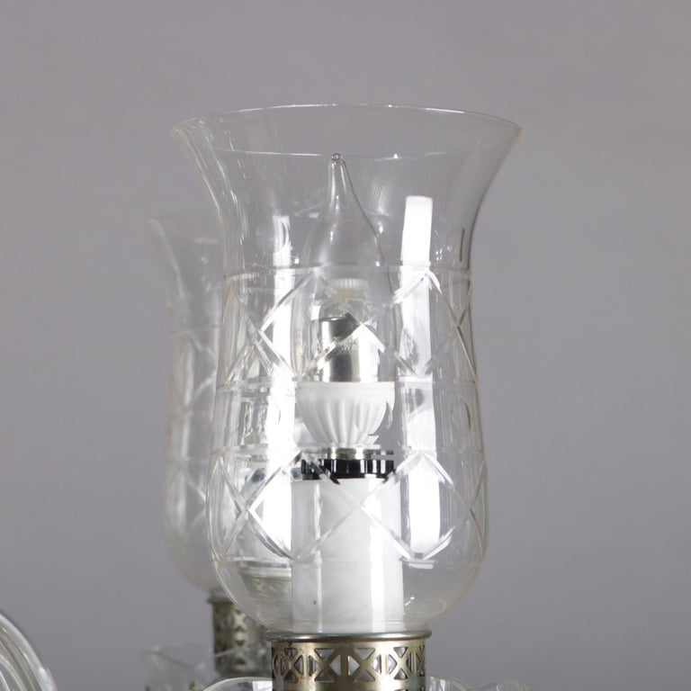 Vintage French Crystal and Chrome 5-Light Chandelier with Cut Glass Shades For Sale 3