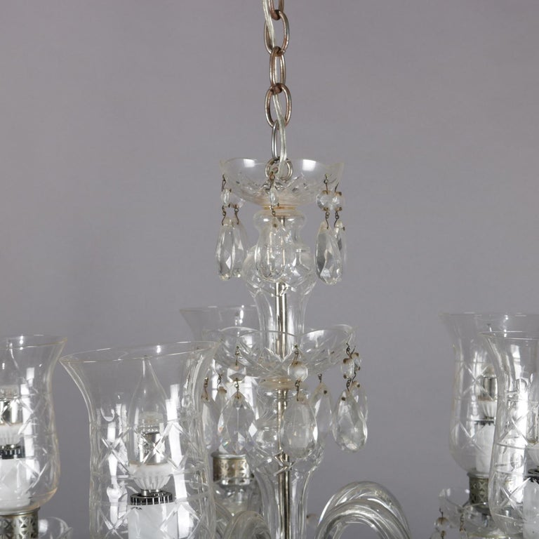 Vintage French Crystal and Chrome 5-Light Chandelier with Cut Glass Shades For Sale 4