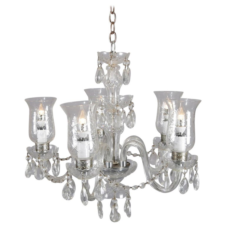 Vintage French Crystal and Chrome 5-Light Chandelier with Cut Glass Shades For Sale