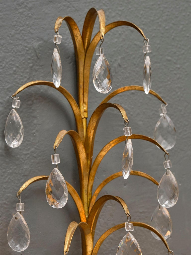 Vintage French Crystal Sconces In Good Condition For Sale In Austin, TX