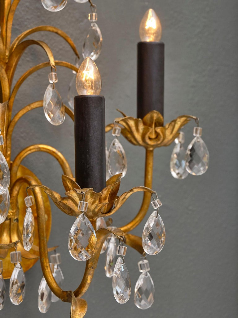 Mid-20th Century Vintage French Crystal Sconces For Sale
