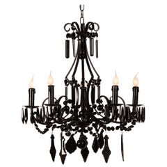 Vintage French Crystal Six-Light Chandelier Painted Black, France, circa 1940