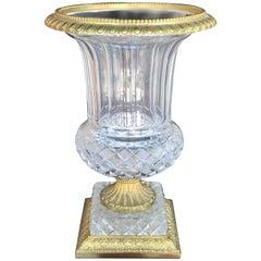 Vintage French Crystal Urn Vase from Palm Springs Celebrity Estate