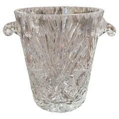 Vintage French Cut Crystal Ice Bucket with Foliage Decor and Handles