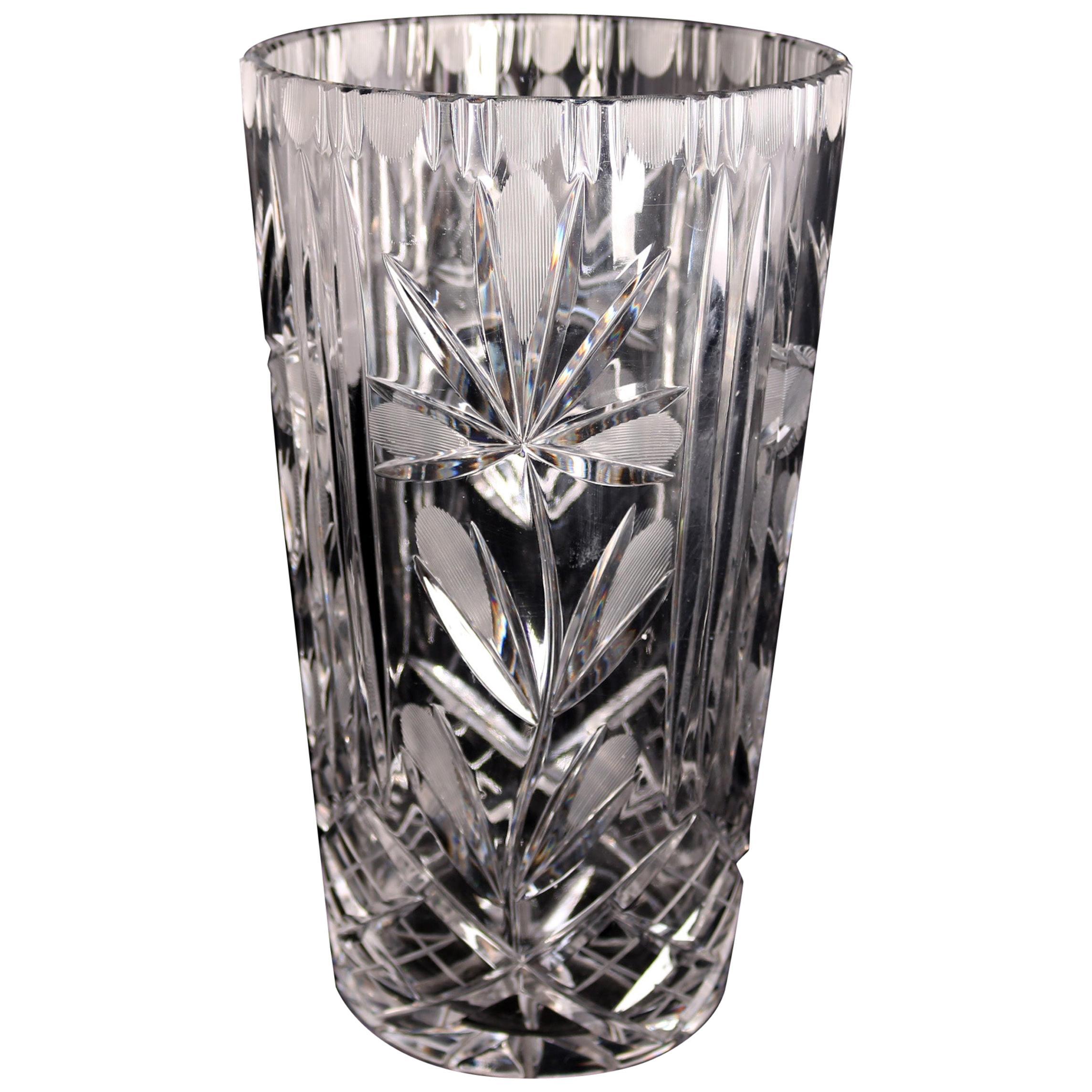 Vintage French Cut Crystal Lalique School Floral Vase, 20th Century
