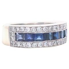 Vintage French Cut Sapphire Diamond Platinum Band