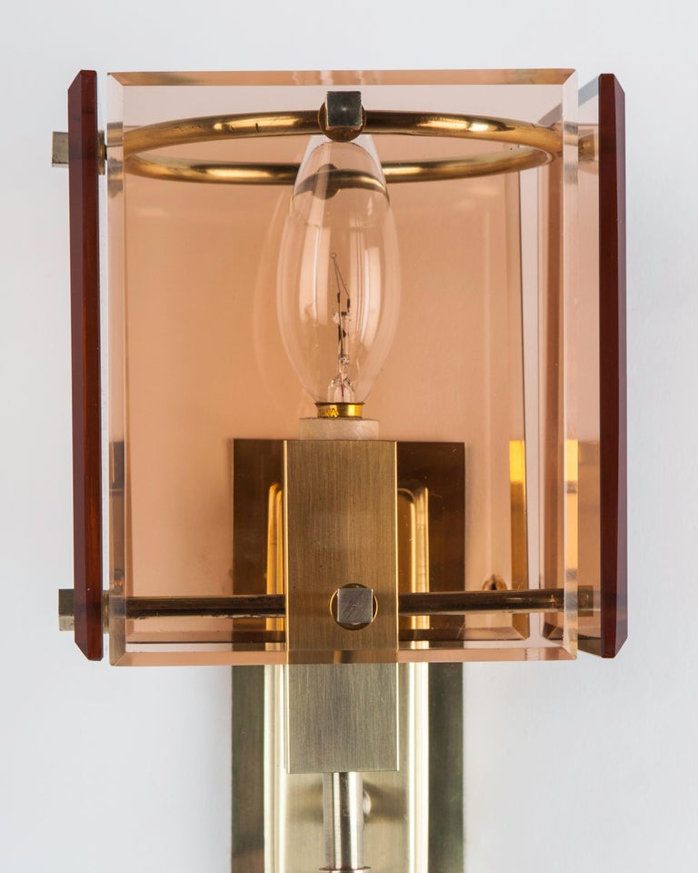 European Vintage French Deco Brass Sconces with Square Rose Glass Panels, circa 1960
