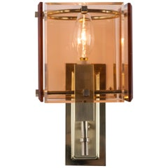Vintage French Deco Brass Sconces with Square Rose Glass Panels, circa 1960