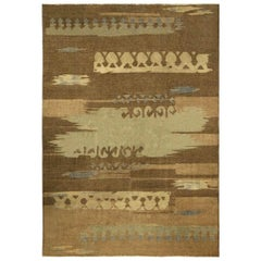 Vintage French Deco Brown and Blue Handwoven Wool Rug