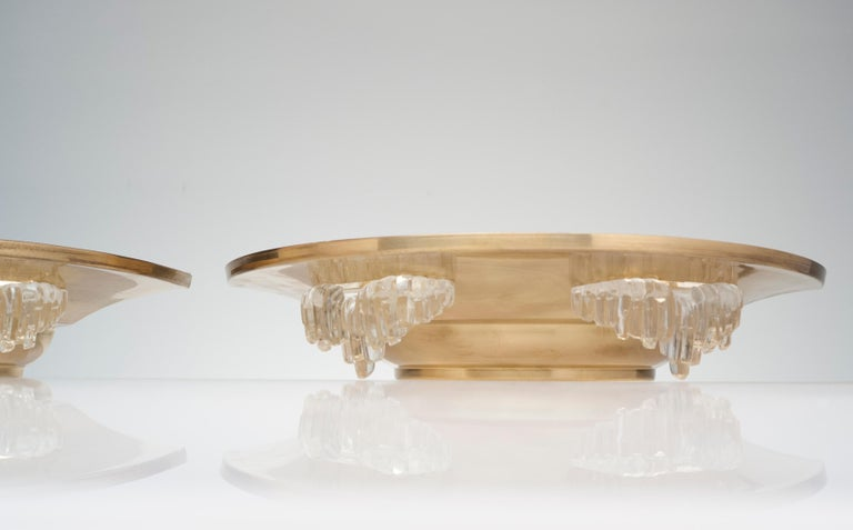 Vintage French Deco Pair of Brass and Glass Wall Sconces In Good Condition In Washington, DC