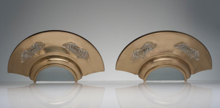 Mid-20th Century Vintage French Deco Pair of Brass and Glass Wall Sconces