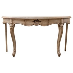 Vintage French Demilune Console Table
