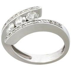 Vintage French Diamond and White Gold Twist Ring, circa 1960