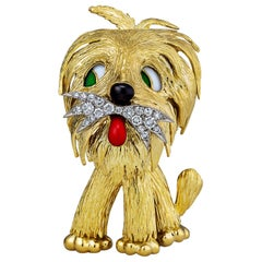 Vintage French Diamond Gold Enamel Dog Brooch