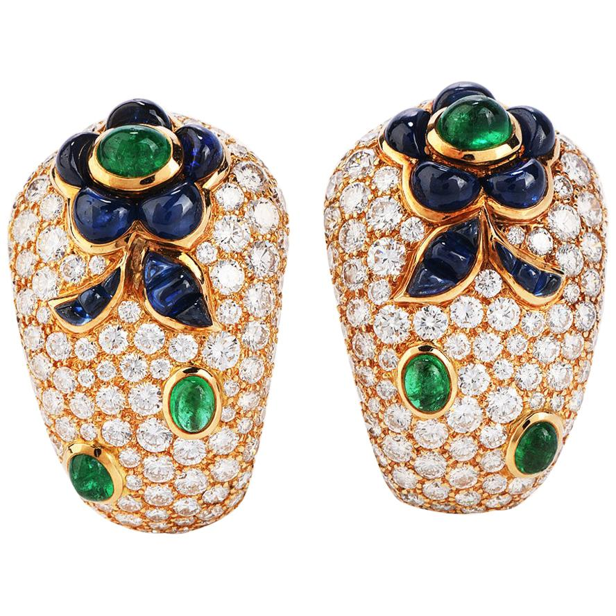 Vintage French Diamond Sapphire Emerald Clip-On Gold Earrings