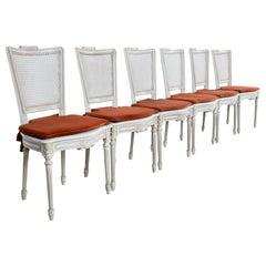 Vintage French Dining Chairs with Fabric Seat Cushion, Set of Six