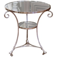 Vintage French Directoire Silver Plated Metal and Mirrored Top Guéridon Table