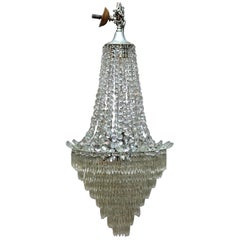 Vintage French Draped Crystal Tiered Wedding Cake 15-Light Chandelier