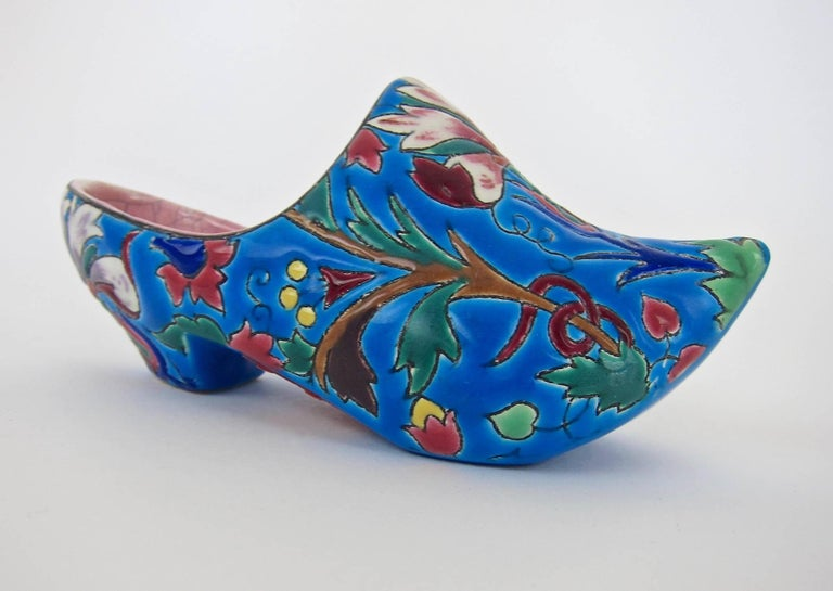 Art Deco Vintage French Emaux de Longwy Wall Pocket Shoe WWII Souvenir or Gift