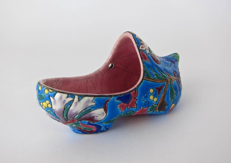 Ceramic Vintage French Emaux de Longwy Wall Pocket Shoe WWII Souvenir or Gift