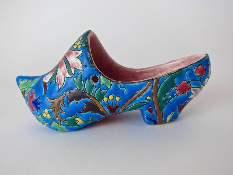 Vintage French Emaux de Longwy Wall Pocket Shoe WWII Souvenir or Gift 1