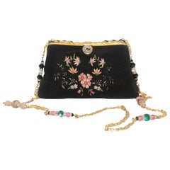 Vintage French Embroidered Beaded Black & Pink Evening Bag
