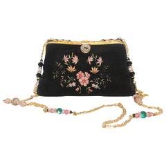 Vintage French Embroidered Beaded Black Pink Evening Bag