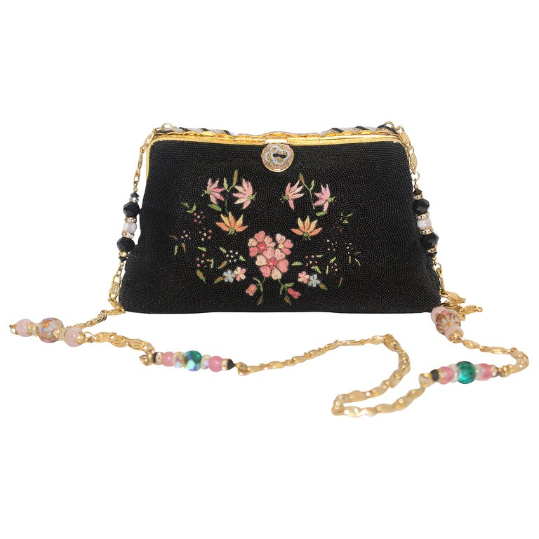 8fb860643d5 Vintage French Embroidered Beaded Black and Pink Evening Bag For ...