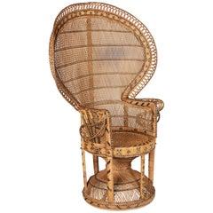 Vintage French Emmanuelle Rattan Peacock Fan Chair