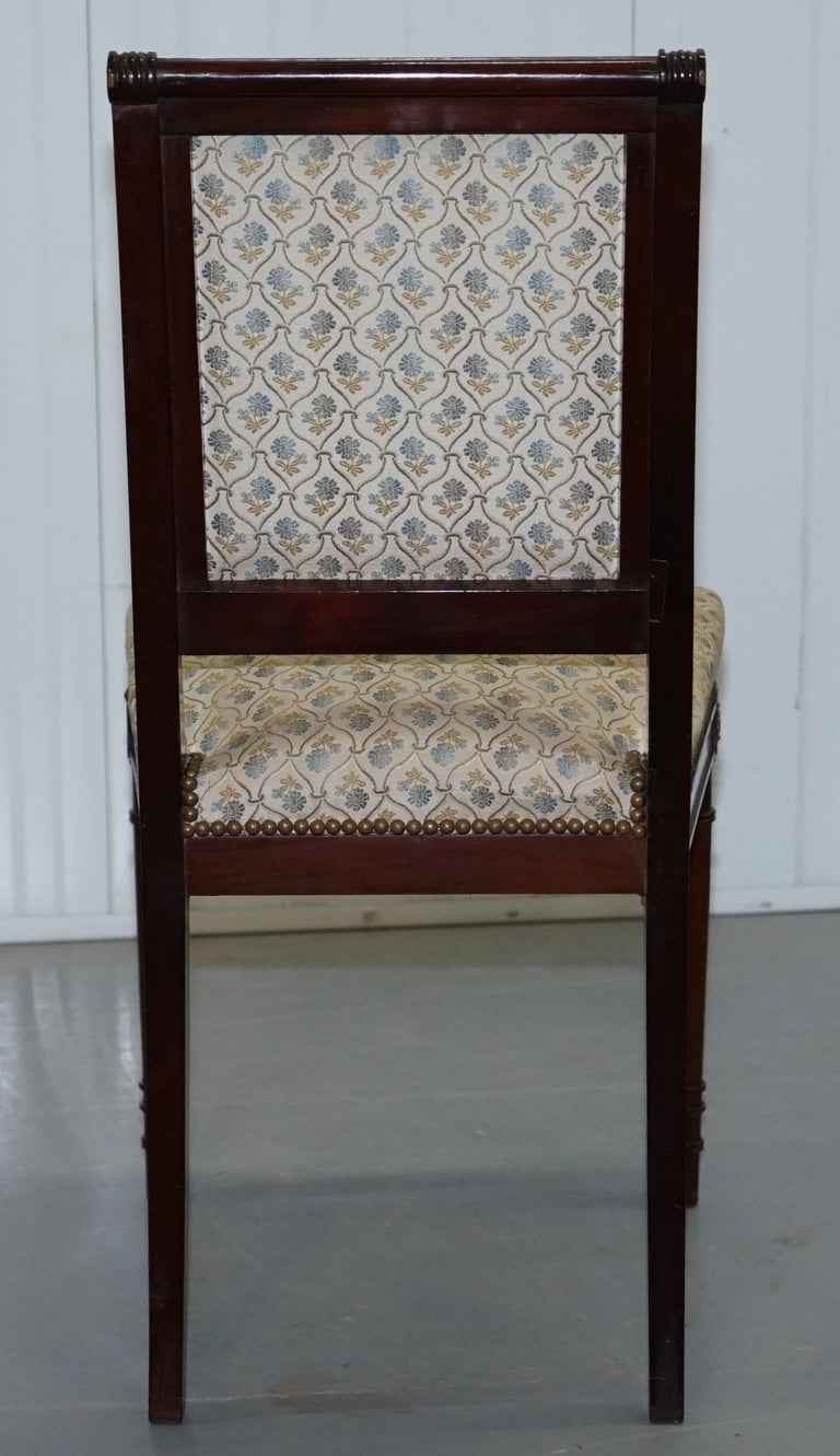 Vintage French Empire Mahogany Napoleon Style Dining Chairs Pair Ormolu Mounts For Sale 6