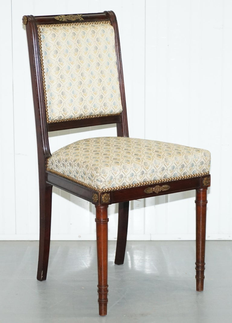 Vintage French Empire Mahogany Napoleon Style Dining Chairs Pair Ormolu Mounts For Sale 10