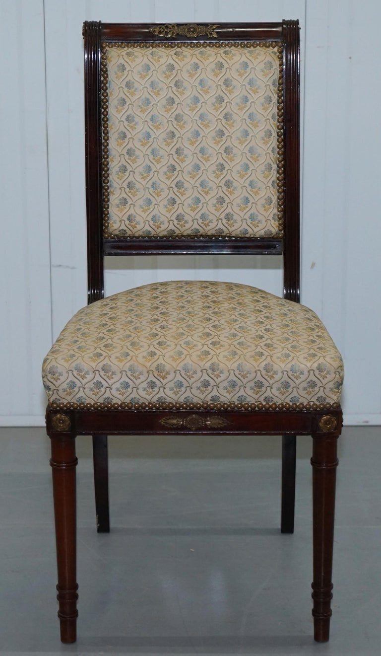 Vintage French Empire Mahogany Napoleon Style Dining Chairs Pair Ormolu Mounts For Sale 11