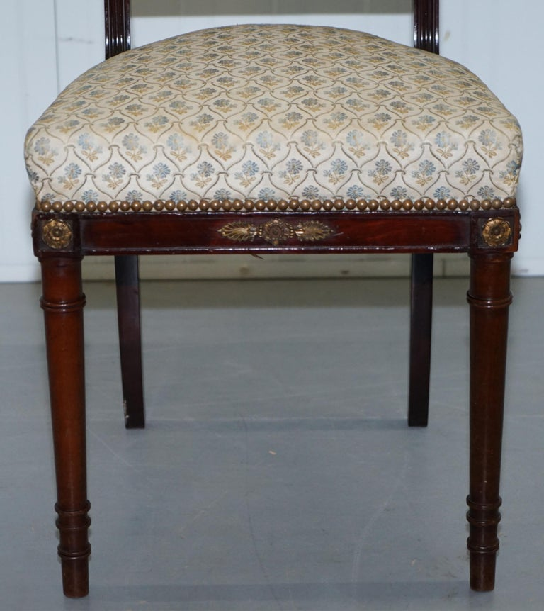 Vintage French Empire Mahogany Napoleon Style Dining Chairs Pair Ormolu Mounts For Sale 13