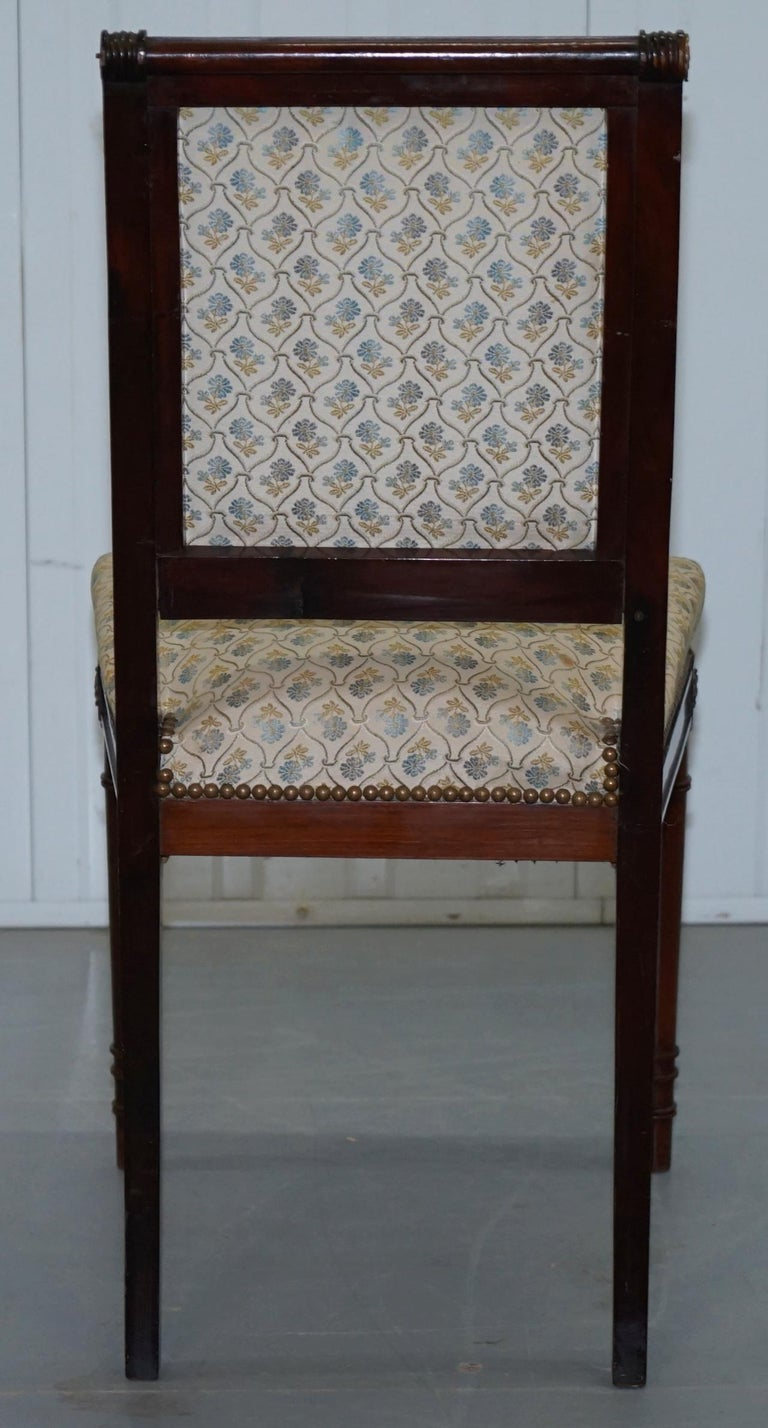 Vintage French Empire Mahogany Napoleon Style Dining Chairs Pair Ormolu Mounts For Sale 15