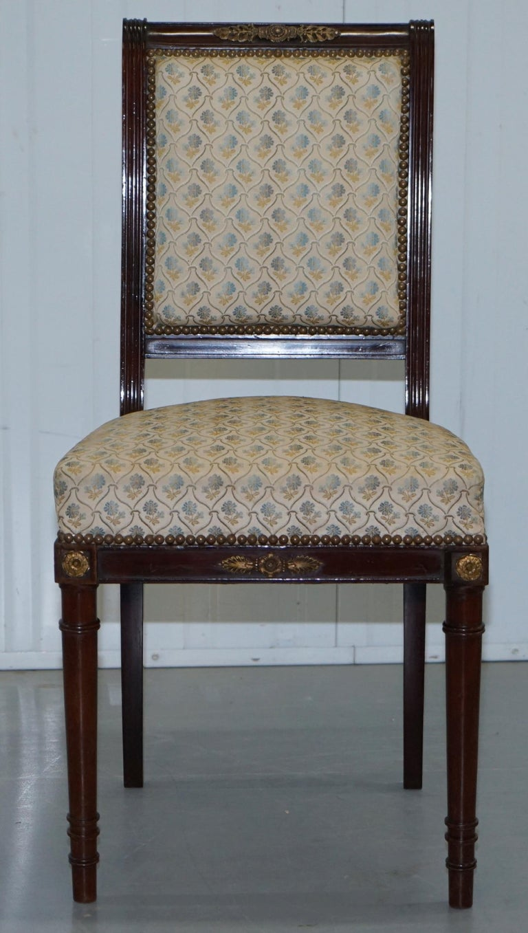 Carved Vintage French Empire Mahogany Napoleon Style Dining Chairs Pair Ormolu Mounts For Sale