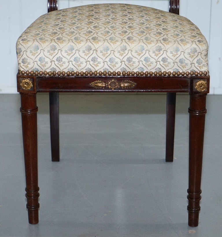 Vintage French Empire Mahogany Napoleon Style Dining Chairs Pair Ormolu Mounts For Sale 2