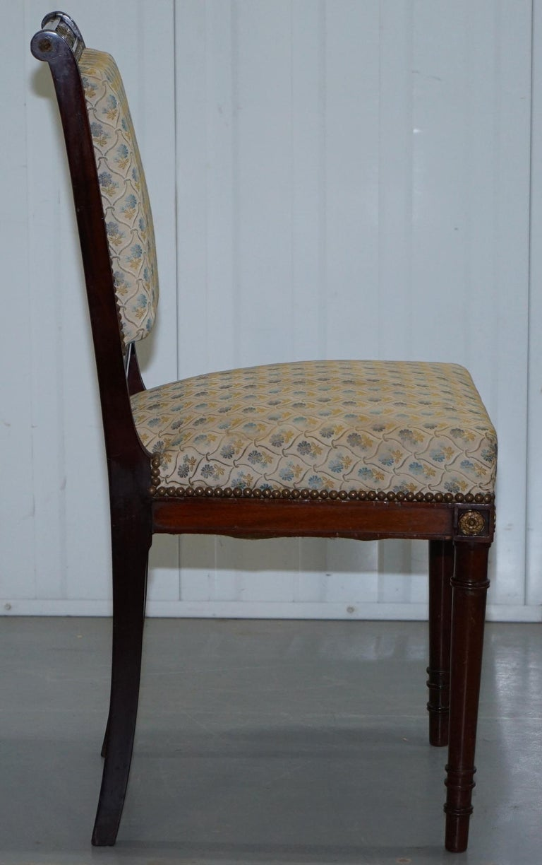 Vintage French Empire Mahogany Napoleon Style Dining Chairs Pair Ormolu Mounts For Sale 4