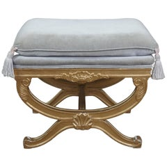 Vintage French Empire Regency Style Gold Vanity Stool Scalloped Bench Seat