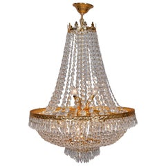 Vintage French Empire Sac a Pearl Crystal and Gilt Metal Chandelier
