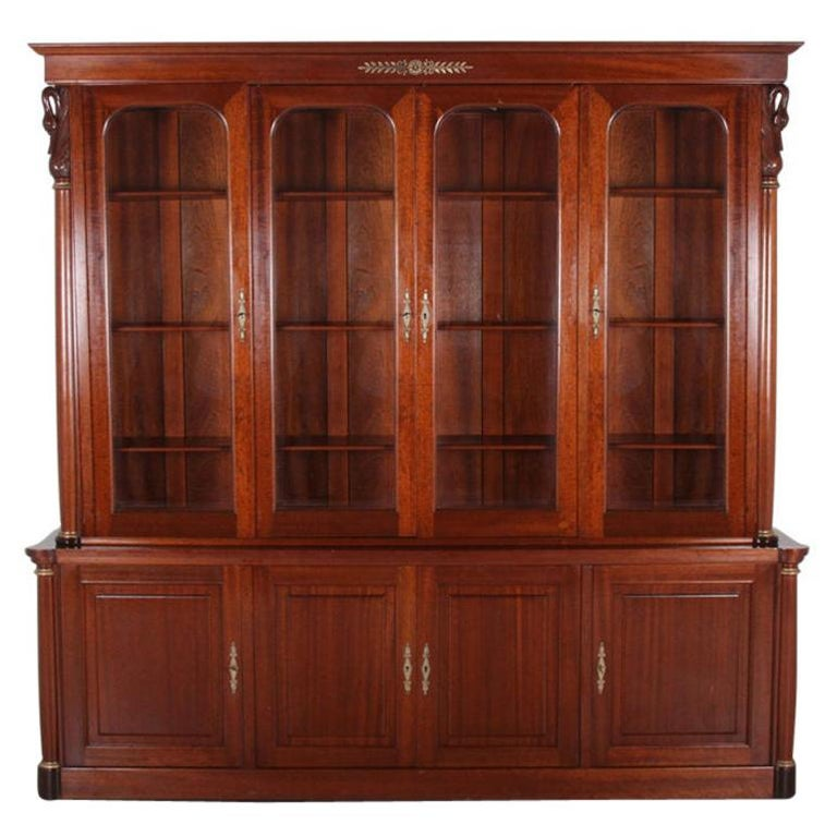 Vintage French Empire-Style Mahogany Bookcase For Sale At