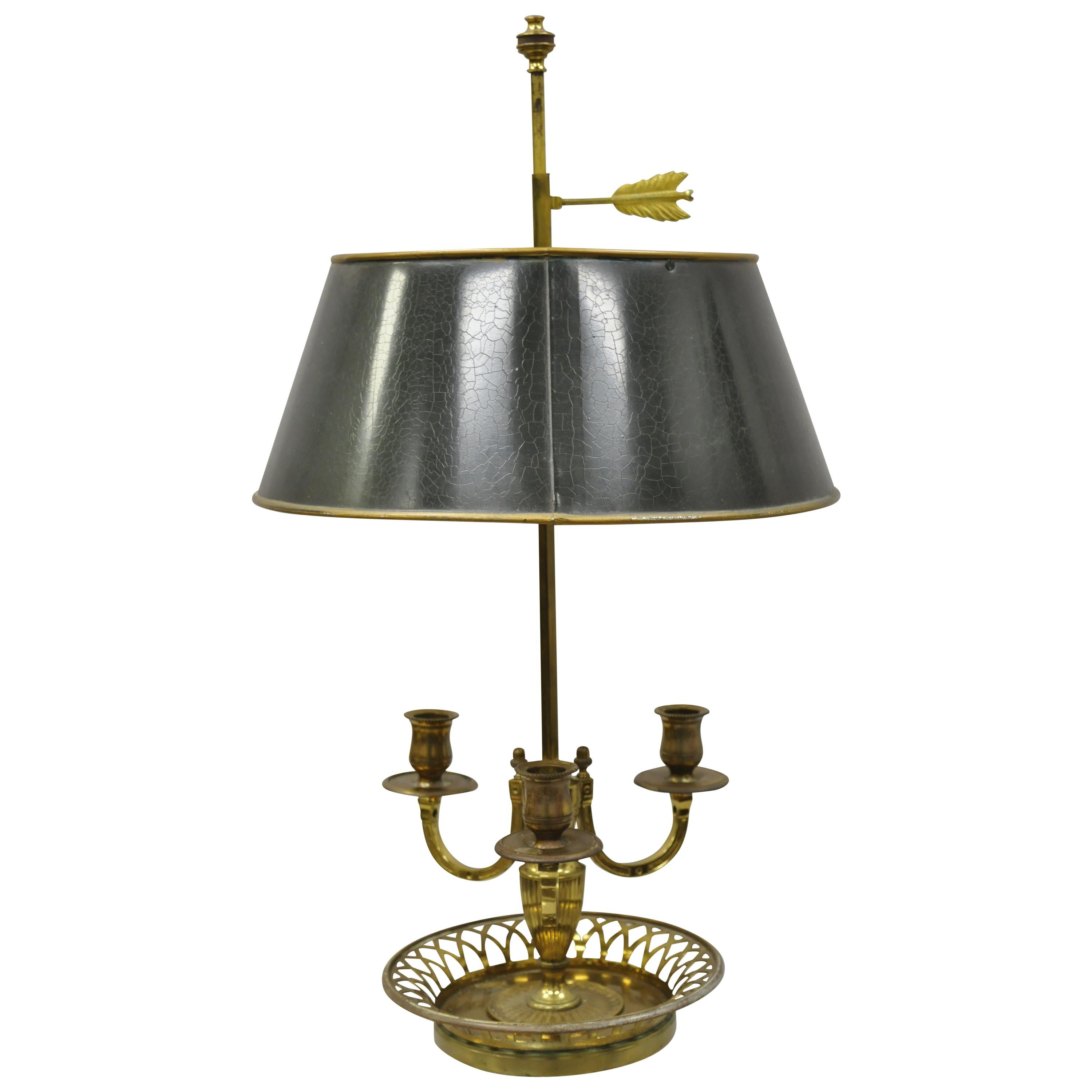 French Empire Green Gilt Tole Lamps