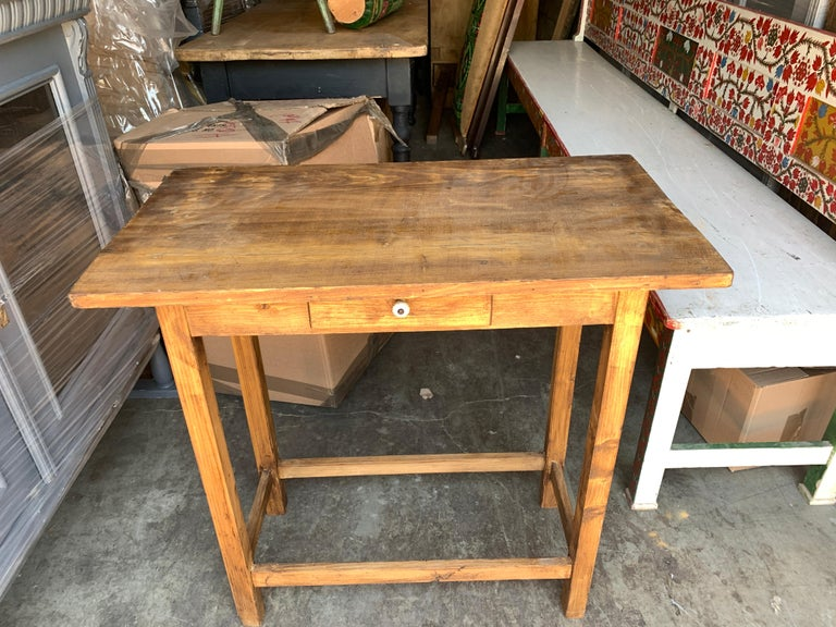 A humble vintage French oak desk is the perfect fit for an entry table, with a simple drawer and original knob. A great height to welcome you or catch you at the door before you go.