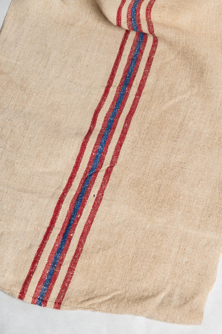 Hand-Woven Vintage French Fabric Canvas for Upholstery For Sale