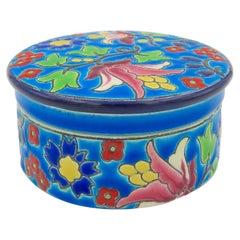 Vintage French Faience Emaux de Longwy Trinket Box with Craquelure Glaze