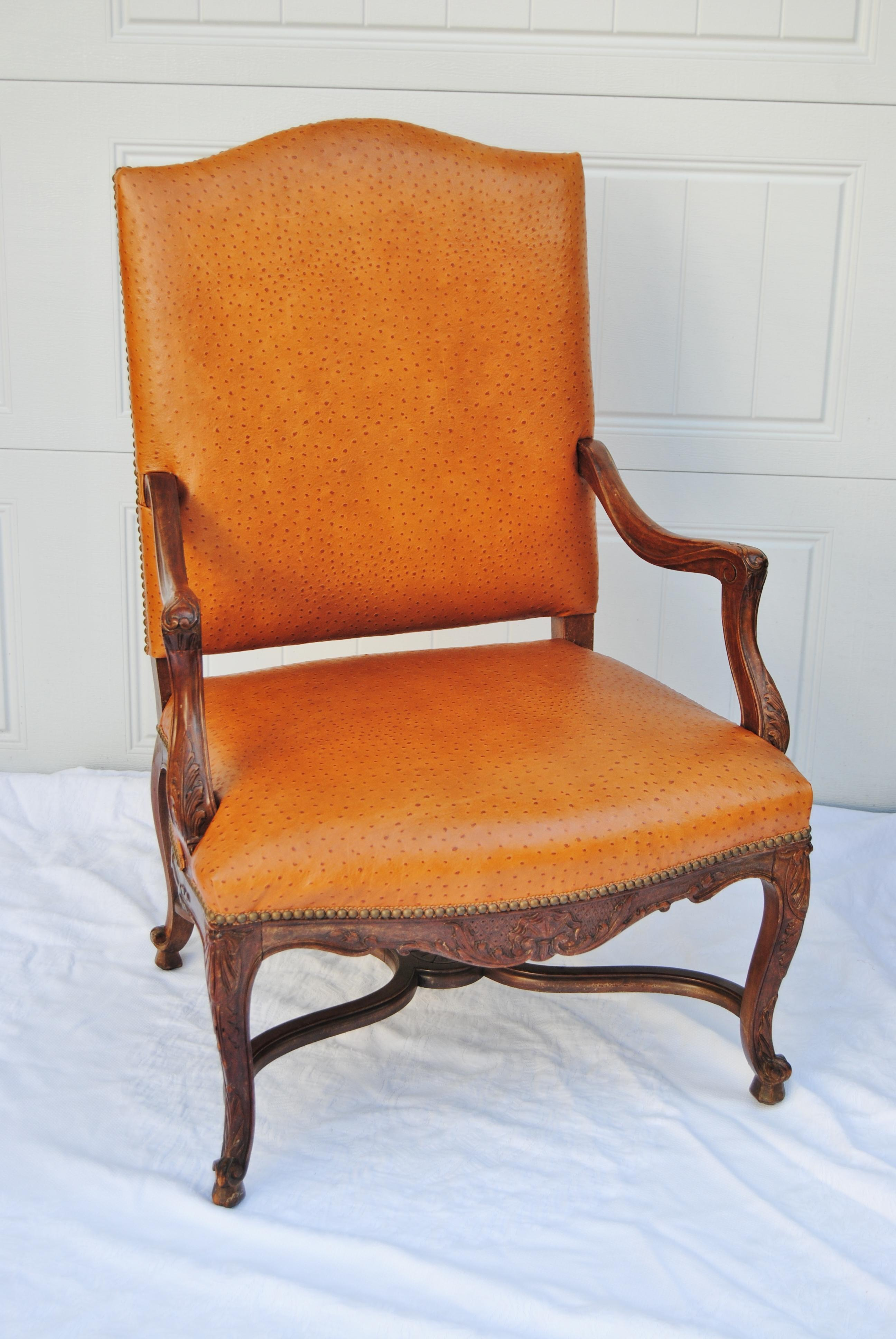 Vintage French Fauteuil Newly Upholstered In Edelman Faux Cowhide Leather.  Chair Is Finished With Antique