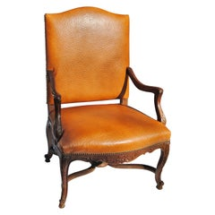Vintage French Fauteuil Newly Upholstered in Edelman Faux Ostrich Leather