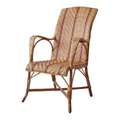 Vintage French Fauteuil, Rattan Armchair with Orange Stripes, 1930s