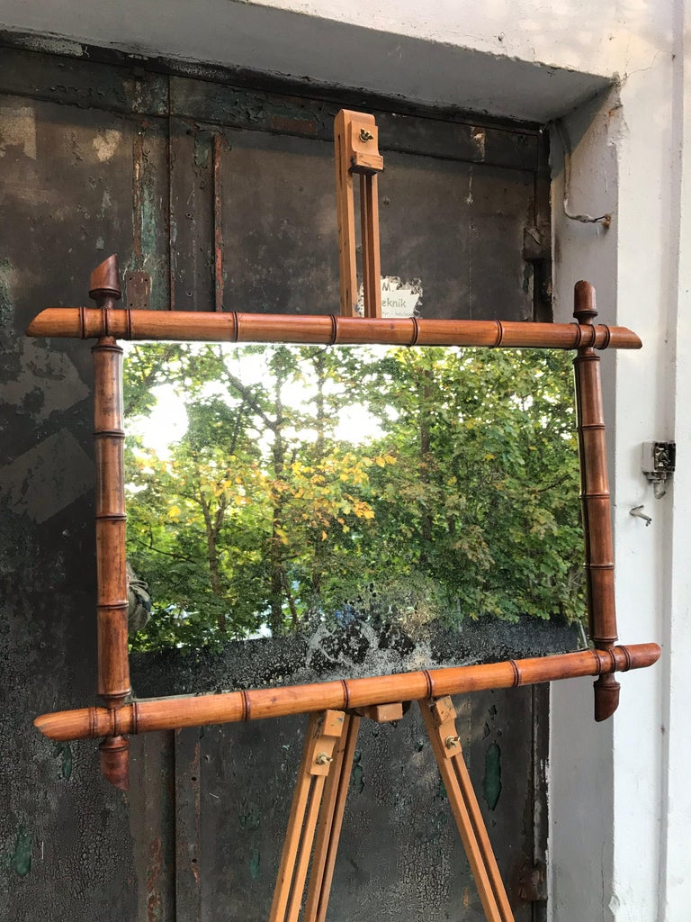 Vintage French Faux Bamboo Mirror For Sale 6