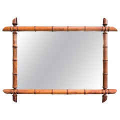 Vintage French Faux Bamboo Mirror