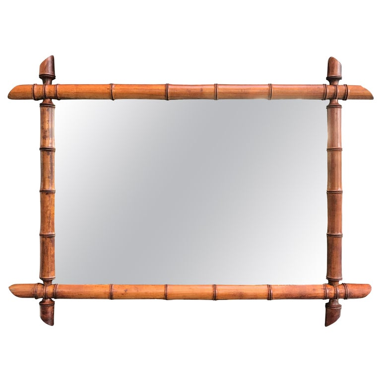 Vintage French Faux Bamboo Mirror For Sale